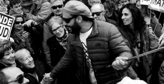 Spiriman en una de las manifestaciones por la sanidad pública en Granada