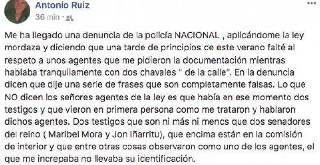 Post en Facebook del periodista Antonio Ruiz explicando lo sucedido