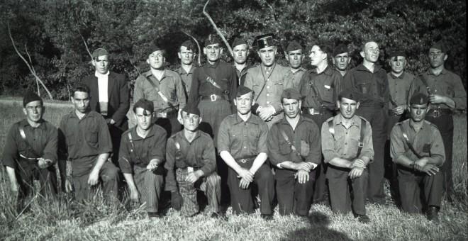 Milicianos fascistas en Cangas. / NOMES E VOCES