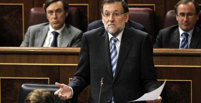 El presidente del Gobierno, Mariano Rajoy, en su escaño del Congreso. Archivo EFE