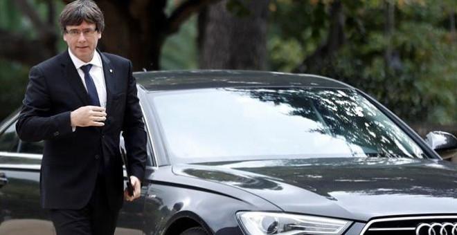 Puigdemont, en Barcelona este jueves. EFE/Andreu Dalmau
