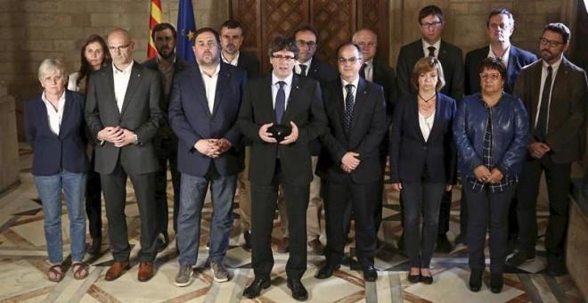 Declaración del president catalán Carles Puigdemont y su gobierno tras el referéndum celebrado en Catalunya. EFE/Jordi Bedmar