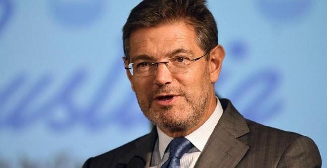 El ministro de Justicia, Rafael Catalá, durante su intervención en inauguración del VI Ciclo de Justicia 'El desafío de la especialización judicial ante la nueva delincuencia'. /EFE