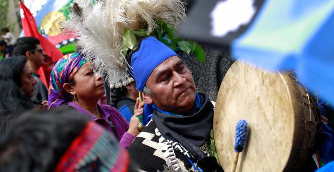 Protestas en el Día de Colón en Chile. REUTERS