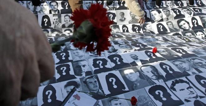 Protesta contra las desapariciones forzadas durante el franquismo. - EFE