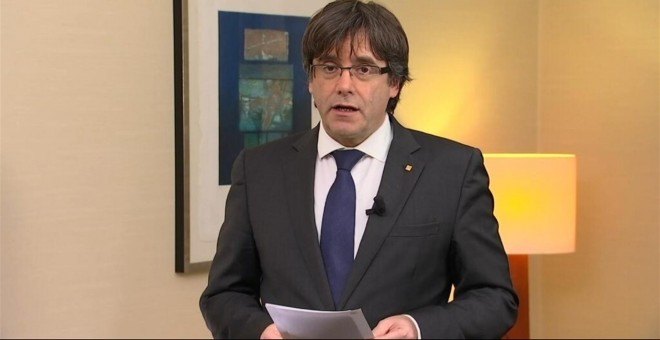 Puigdemont, durante su mensaje de vídeo.