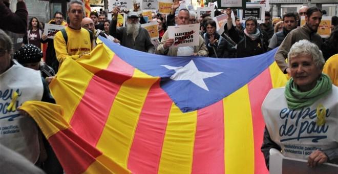 Imagen de la manifestación en Palma por la 'Libertad presos políticos'. E.P.