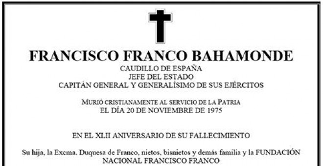 Esquela en memoria del dictador Francisco Franco