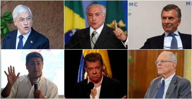 De izquierda a derecha y de arriba a abajo, Sebastián Piñera (Chile), Michel Temer (Brasil), Mauricio Macri, Juan Orlando Hernandez (Honduras), Juan Manuel Santos (Colombia) y Pedro Pablo Kuczynski (Perú). REUTERS