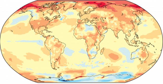 Diferencia de temperaturas en 2017 con respecto a las registradas en el periodo entre 1981 y 2010. OMM