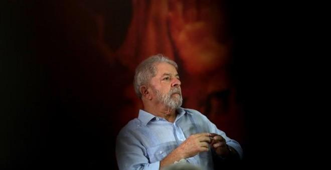 El expresidente brasileño Luiz Inácio Lula da Silva, durante una reunión del PT en Sao Paulo. - EFE