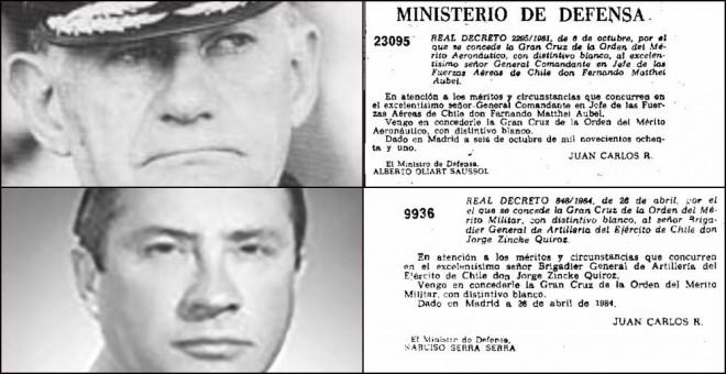 Medallas entregadas a Fernando Matthei (arriba) y Jorge Zincke (abajo).