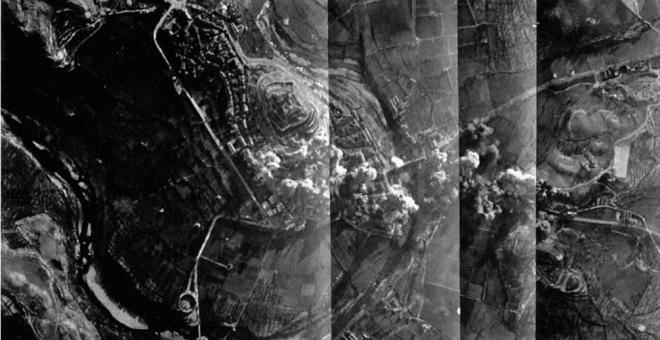 Las tres escuadrillas de bombarderos dejaron caer sobre Alcañiz  diez toneladas de bombas en apenas 90 segundos la tarde del 3 de marzo de 1938.
