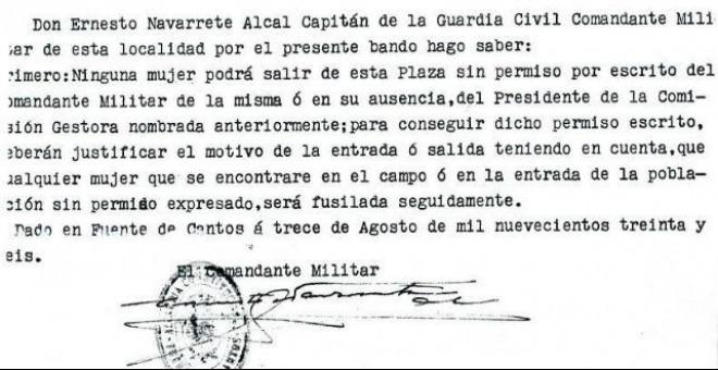 Bando del comandante militar de Fuente de Cantos (Badajoz). Cedido por Pura Sánchez