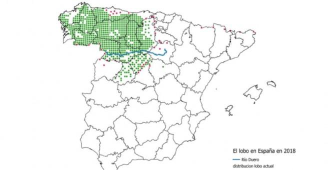 Mapa de distribución del lobo ibérico en España elaborado por Ángel M. Sánchez (Coord. Gral. Voluntariado Censo lobo ibérico) y Observatorio Sostenibilidad.