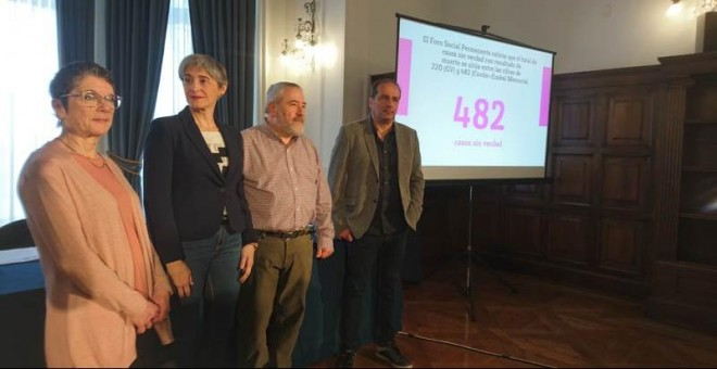 Los representantes del Foro Social presentan en San Sebastián un informe comparativo sobre casos sin revolver relativos a la violencia de ETA, los GAL y otros grupos que operaron en el País Vasco.