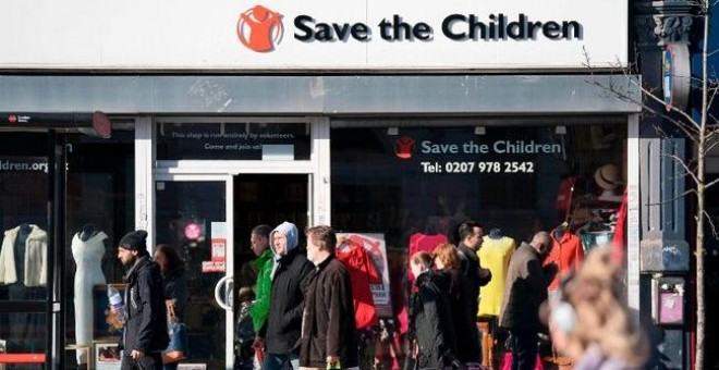 Una oficina de Save the Children en Londres. AFP