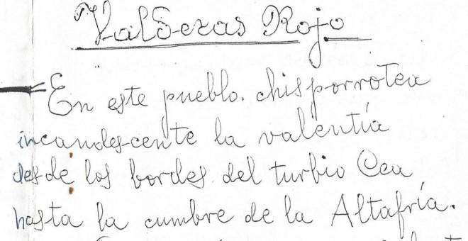 Manuscrito de 'Valderas Rojo'. / CLAUDIO RODRÍGUEZ FER