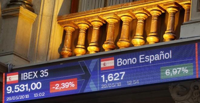 Panel informativo con los datos de la cotización del Ibex 35 y de la deuda española, en EFE/Javier Lizón
