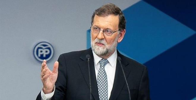 Fotografía facilitada por el PP, de su líder Mariano Rajoy, durante su intervención ante el Comité Ejecutivo Nacional. /EFE