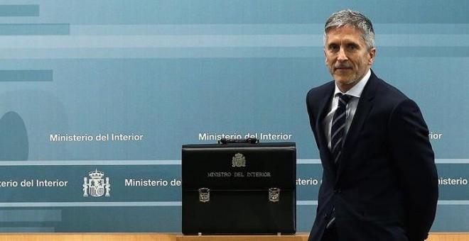 El ministro del Interior Fernando Grande-Marlaska, durante la ceremonia de traspaso de cartera en el Ministerio del Interior en Madrid.- EFE/Rodrigo Jiménez