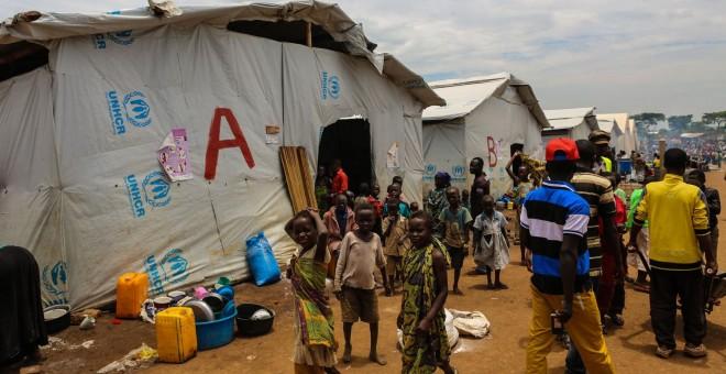 Mujeres y niños suponen la mayor parte de los refugiados que llegan a Uganda. - MOHAMMAD GHANNAM (MSF)