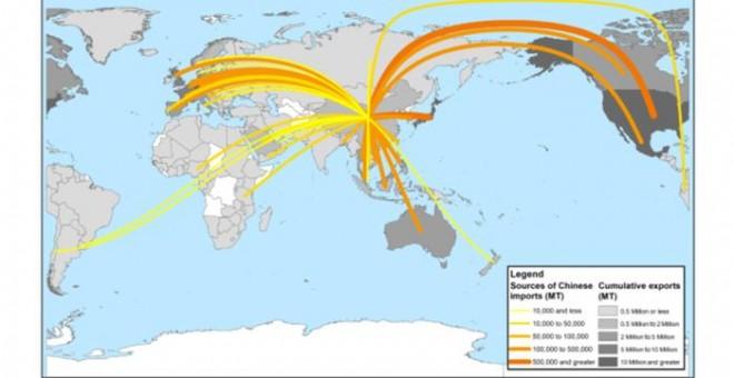 Mapa de las exportaciones de residuos de plástico a China desde terceros países. SCIENCE ADVANCES