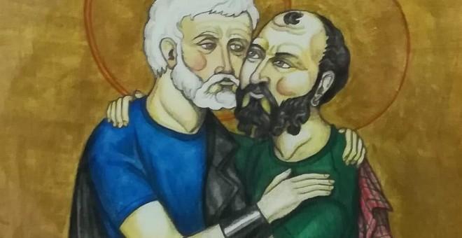 Imagen de dos apóstoles besándose de la exposición 'Bilbao Bizkaia Pride 2018'.EUROPA PRESS/PP VASCO