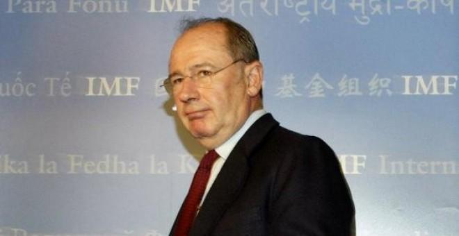 Rodrigo Rato, entonces director gerente del FMI, en la rueda de prensa previa de la Asamblea Anual del organismo internacional de septiembre de 2004, en Washington. AFP/Tim Sloan