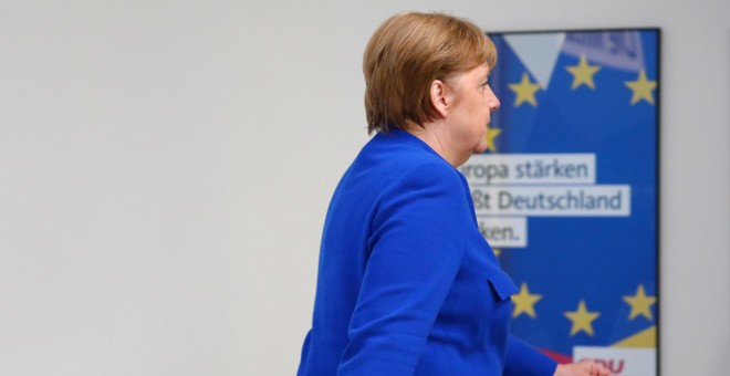 La canciller alemana, Angela Merkel, tras su rueda de prensa de Berlín. /REUTERS