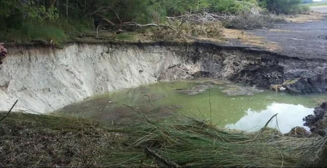 Imagen de la laguna después del desastre. | Twitter de Fernando Zelaya Espinoza