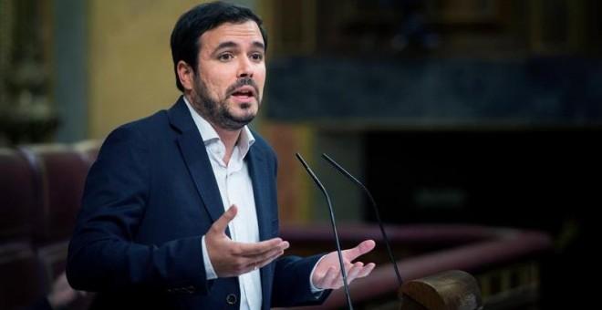 El coordinador general de IU, Alberto Garzón durante su intervención en el pleno del Congreso. EFE/Luca Piergiovanni