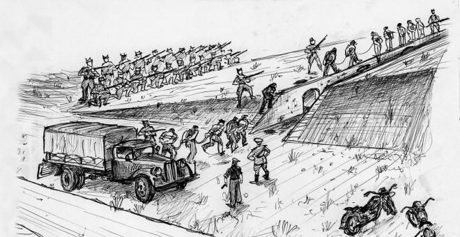 """Dibujo de cómo funcionaba la maquinaria de matar de """"El Paredón de España"""", de Paterna, por Matías Alonso, coordinador del Grupo para la Recuperación de la Memoria Histórica."""