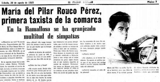 María del Pilar Rouco Pérez, primera taxista de la comarca de Vigo y segunda de Pontevedra, en 'El Pueblo Gallego'.