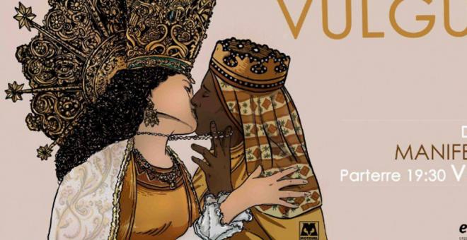 Cartel en el que la virgen de los Desamparados y La Moreneta aparecen besándose./ Edevant