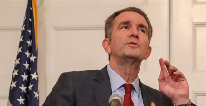 Virginia Governor Ralph Northam strains to hear a question from the media about a racist photo that appeared in his 1984 medical school yearbook, at the Executive Mansion in Richmond, Virginia, USA, 02 February 2019. Northam is facing pressure to resign f