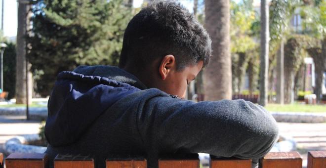 Samir, un menor marroquí de 14 años que está acogido en el centro La Purísima, donde duermen 660 niños.- IRENE QUIRANTE