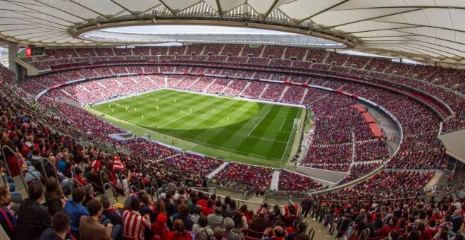 Estadio Wanda Metropolitado lleno para ver el encuentro del Barcelona y el Atlético de Madrid de fútbol femenino / fuente: Atlético