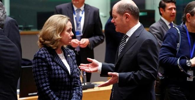 11/03/2019 - La Ministra de Economía y Empresa, Nadia Calviño, y el ministro de finanzas alemán, Olaf Scholz. / REUTERS