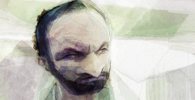 Retrato del líder de Vox, SantIago Abascal, realizado por el ilustrador Thorsten Rienth. – PÚBLICO