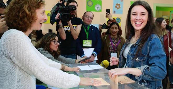 Irene Montero en el momento de la votación.- EFE