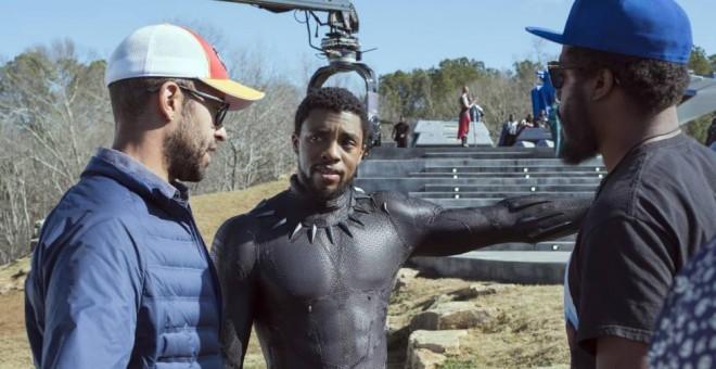 Chadwick Boseman (centro) en el rodaje de 'Black Panther', uno de los taquillazos que se han grabado en Georgia.