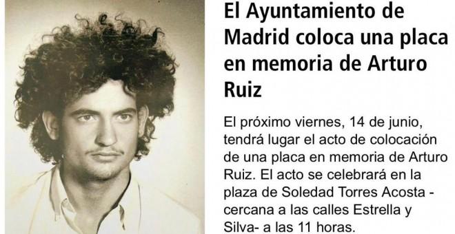 Cartel que informa del acto de inauguración de una placa en honor a Arturo Ruiz.-