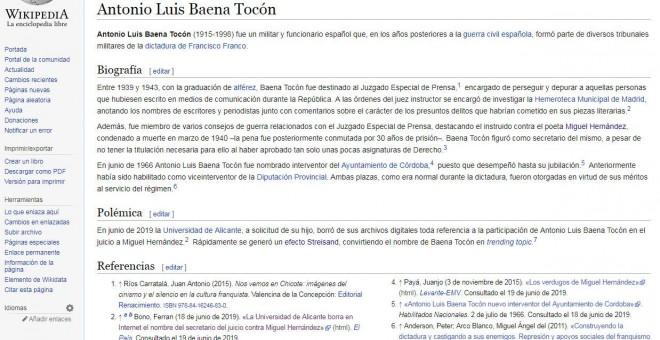Entrada de Luis Antonio Baena Tocón en la página de Wikipedia