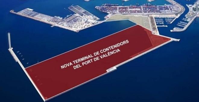 16/08/2019 - Fotos aéreas del puerto de Vàlencia, espacio que ocupará la ampliación norte
