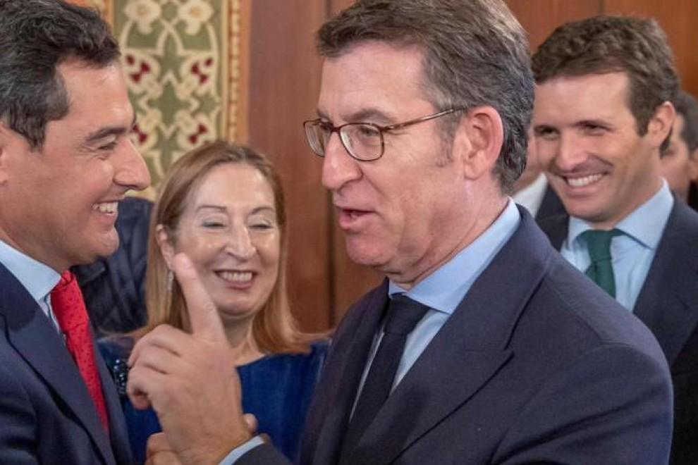 Pablo Casado junto a Moreno, Feijóo y Pastor en la toma de posesión del segundo como presidente de la Junta de Andalucía EFE