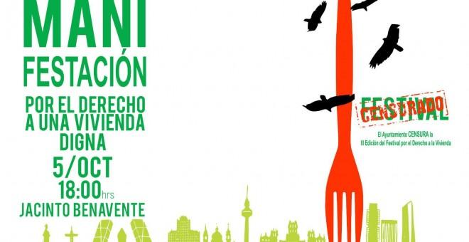 Cartel de la manifestación por el derecho a la vivienda prevista para el próximo sábado 5 de octubre en Madrid.