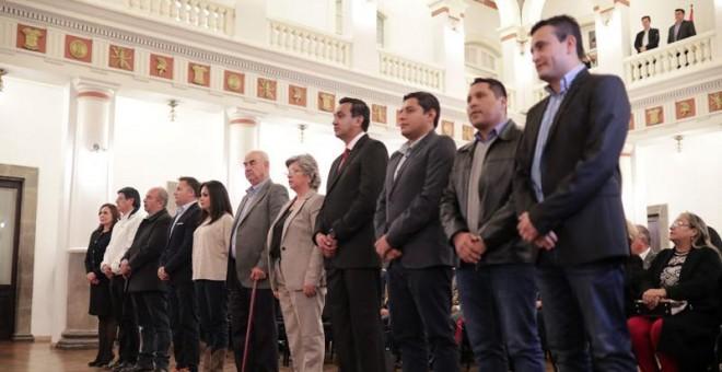 La presidenta interina de Bolivia, Jeanine Añez,  presenta a su equipo de Gobierno (REUTERS).