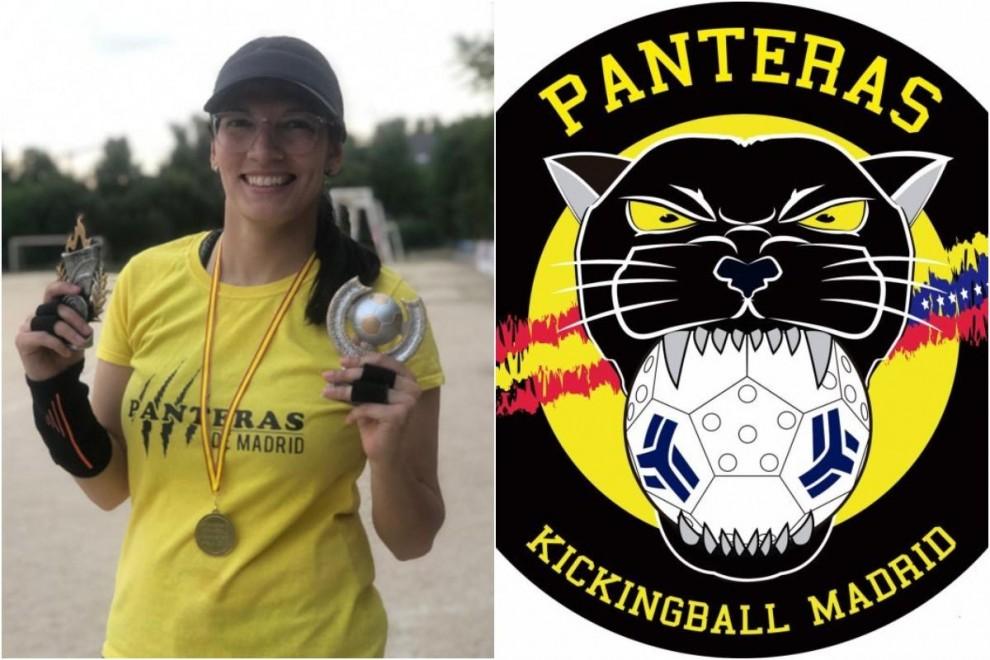 La jugadora de kickingball Adriana Ferrer y el escudo de las Panteras.
