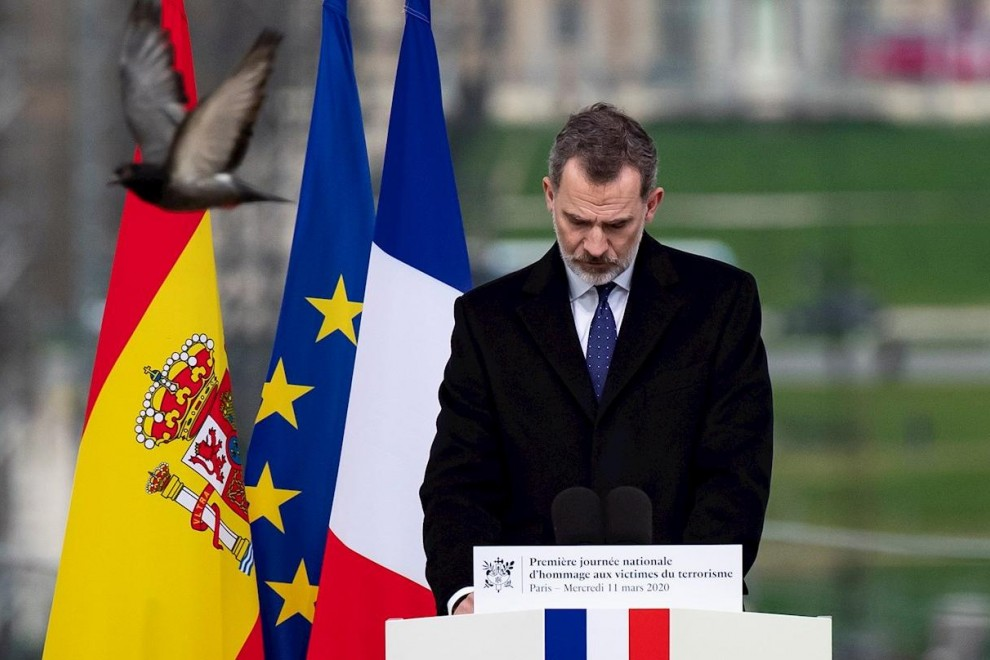 11/03/2020.- Felipe VI durante el homenaje a las víctimas del terrorismo en París (Francia). / EFE - IAN LANGSDON